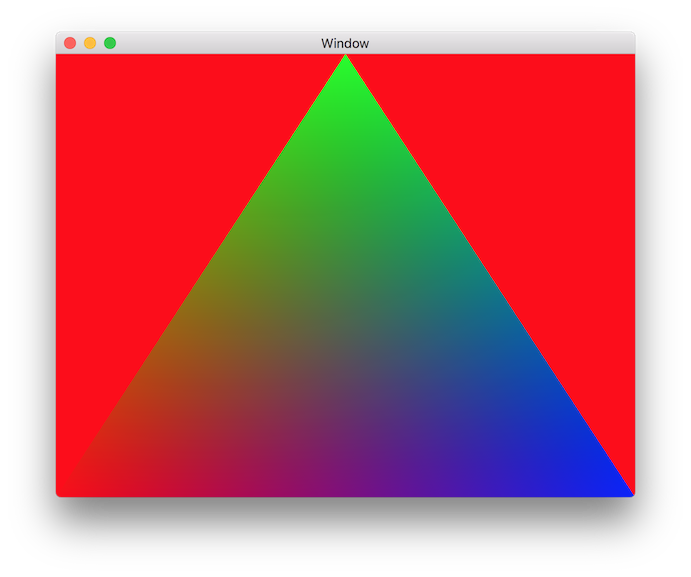 Red Screen With Multicolored Triangle
